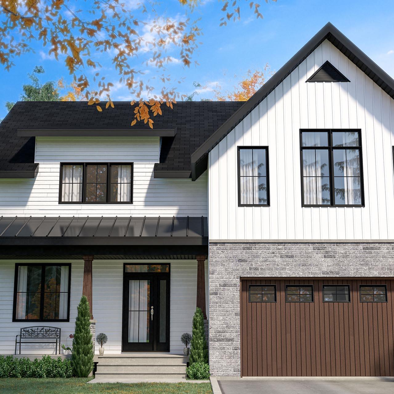 Plan de maison farmhouse deux étages