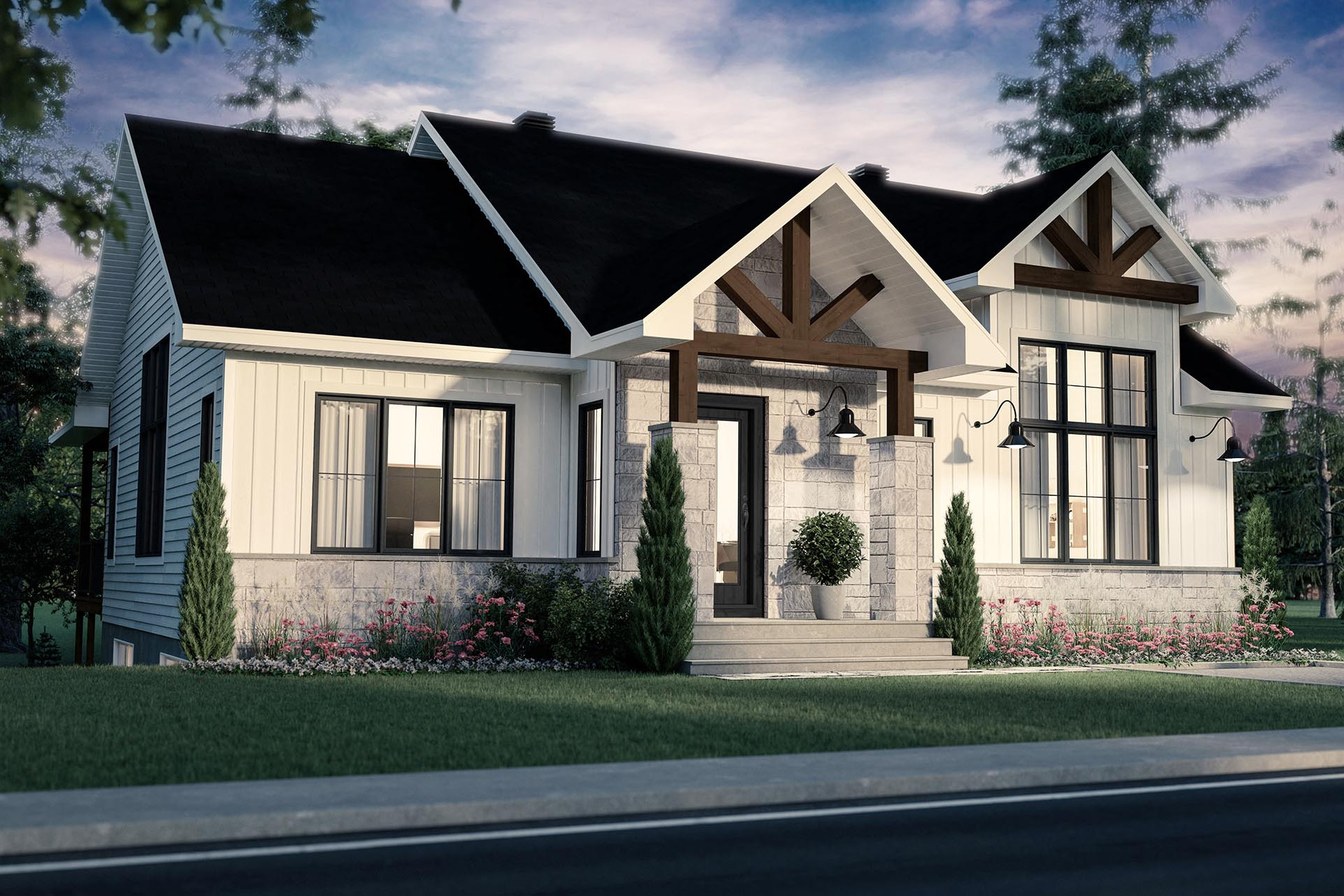 plan de maison farmhouse extérieure