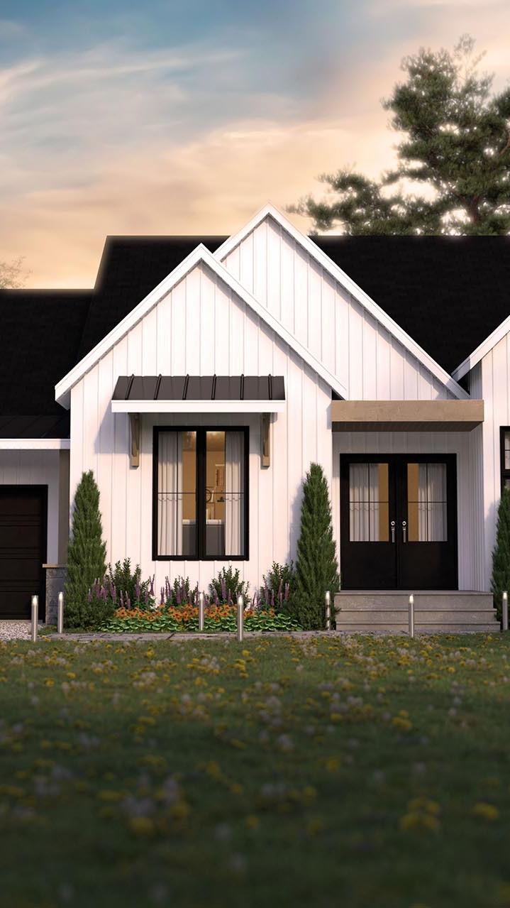 plan de maison farmhouse champêtre extérieure