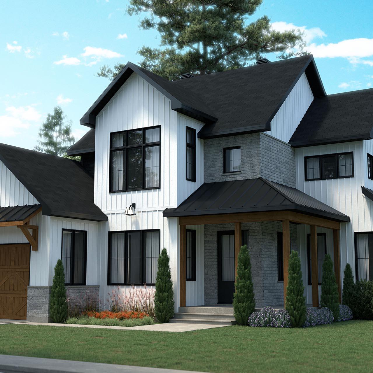 deux étages plan de maison farmhouse champêtre