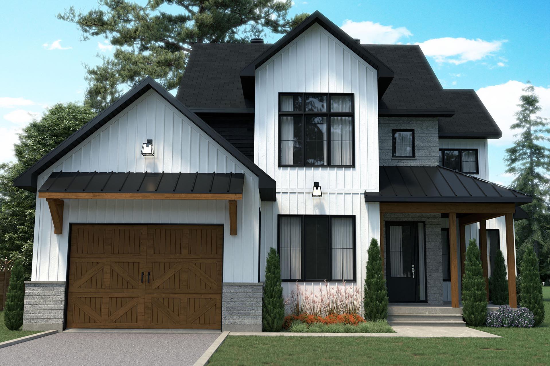 conception plan de maison farmhouse champêtre