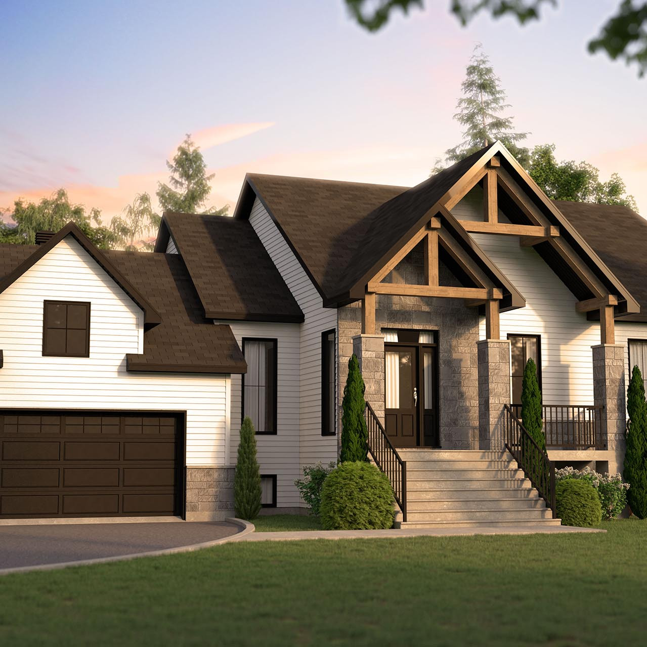 conception plan de maison farmhouse champêtre vue extérieure