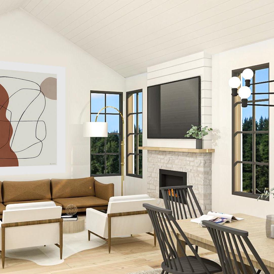 plan de maison champêtre salon aire ouverte